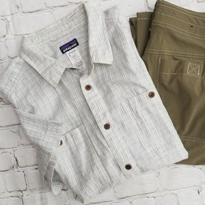 Patagonia White Striped Hemp Short Sleeve Shirt